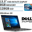 "Amazon.com: 2016 Newest Dell XPS 13 High Performance Laptop with 13.3"" FHD IPS Infinity Borderless Display, Intel Core i5-6200U Processor, 8GB RAM, 128GB SSD, 11 hours battery life, Backlit Keyboard, Windows 10: Computers & Accessories"