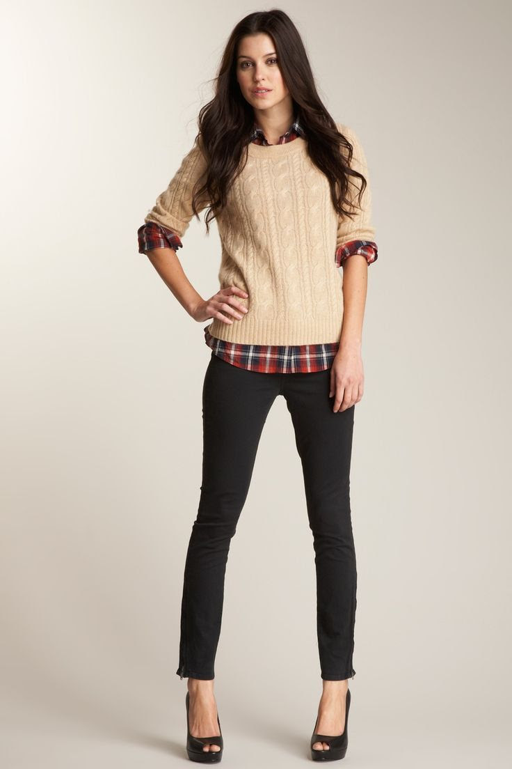 Flannel shirt with sweater and skinny black slacks