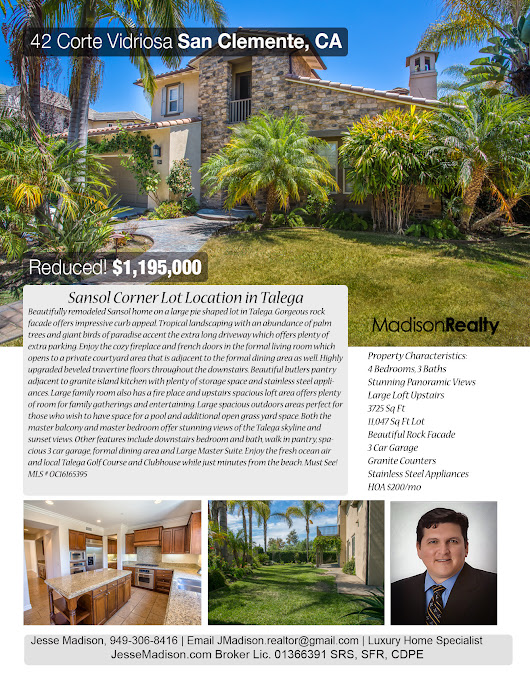 Price Reduction on Talega View Home! | OC Specialist RE Agent