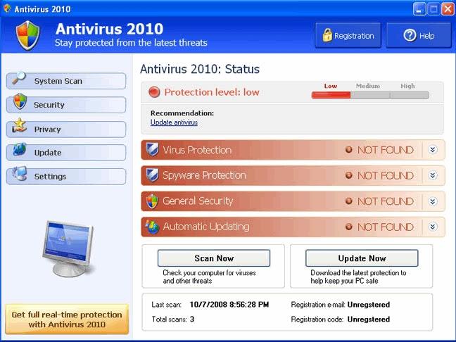Antivirus 2010 removal