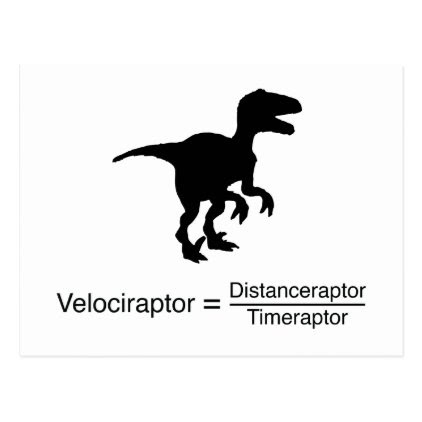 velociraptor funny science postcard