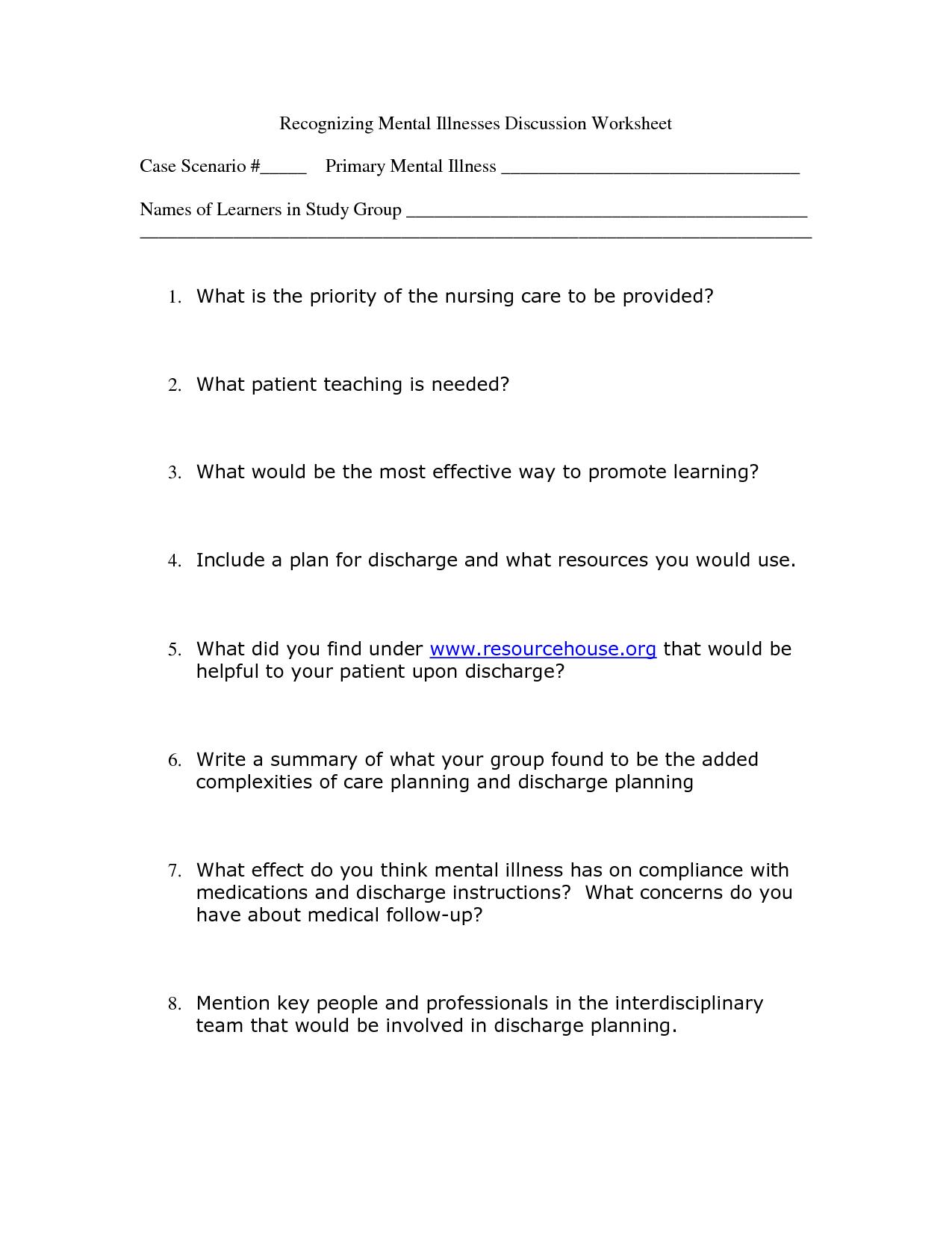 Mental Health Worksheets. Worksheets. Kristawiltbank Free ...