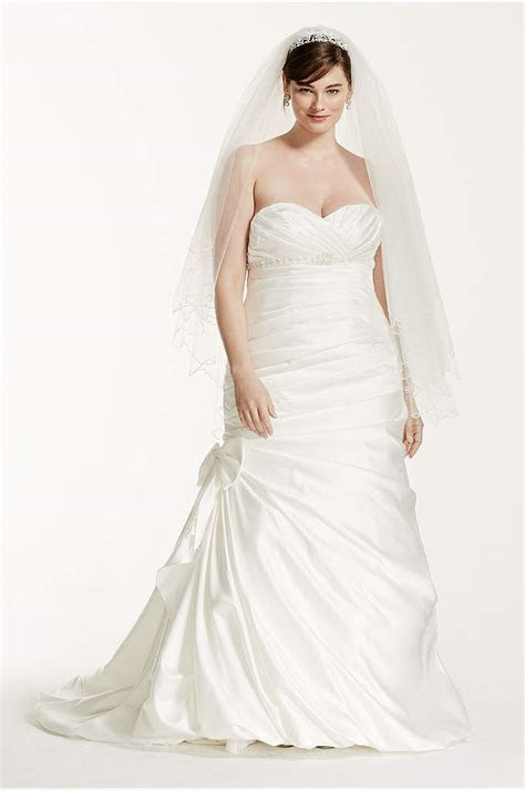 Lace Plus Size Wedding Dress with Tulle Skirt   Davids Bridal