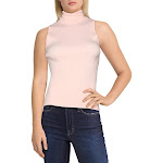 Anne Klein Womens Ribbed Sleeveless Turtleneck Top Pink