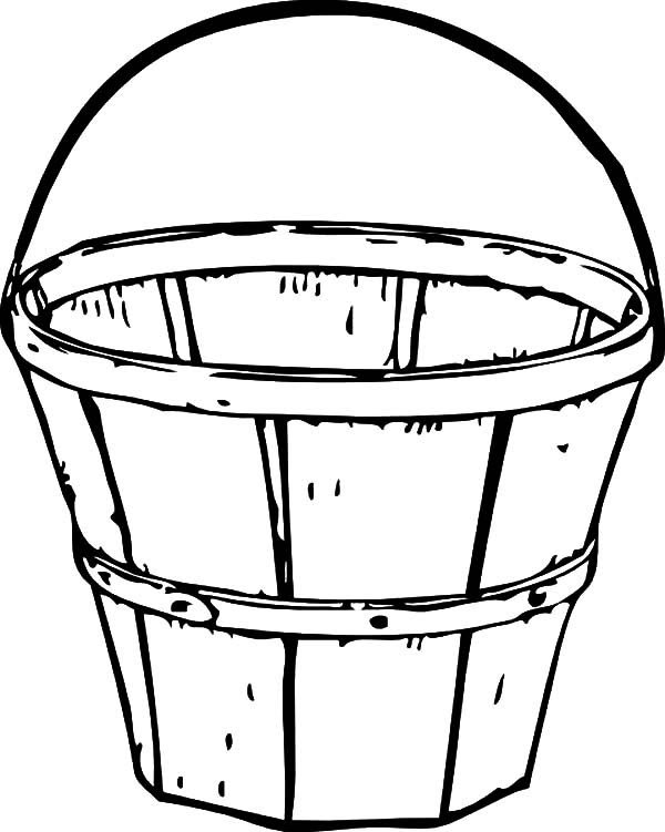 Bucket, : Traditional Wooden Bucket Coloring Pages