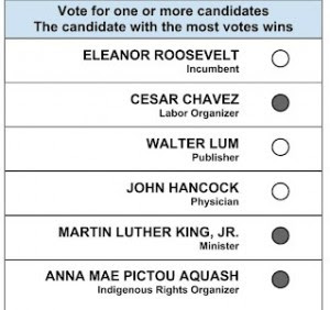 A (sort of weird) example approval voting ballot