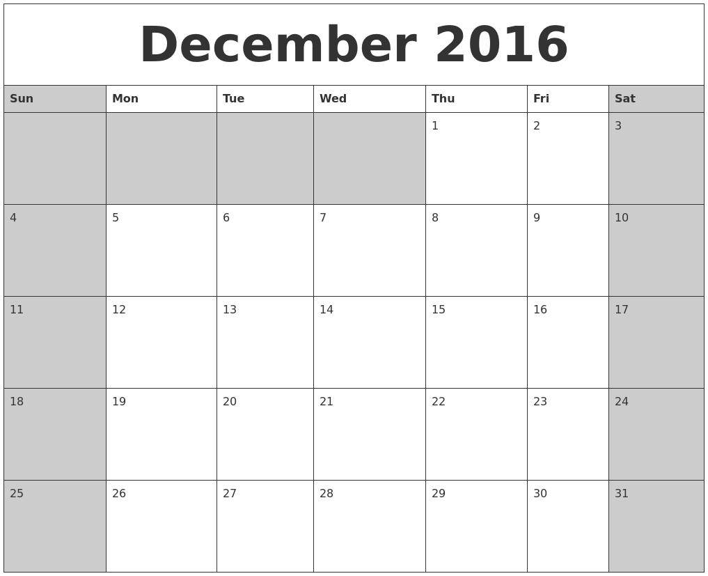 december 2016 calanders