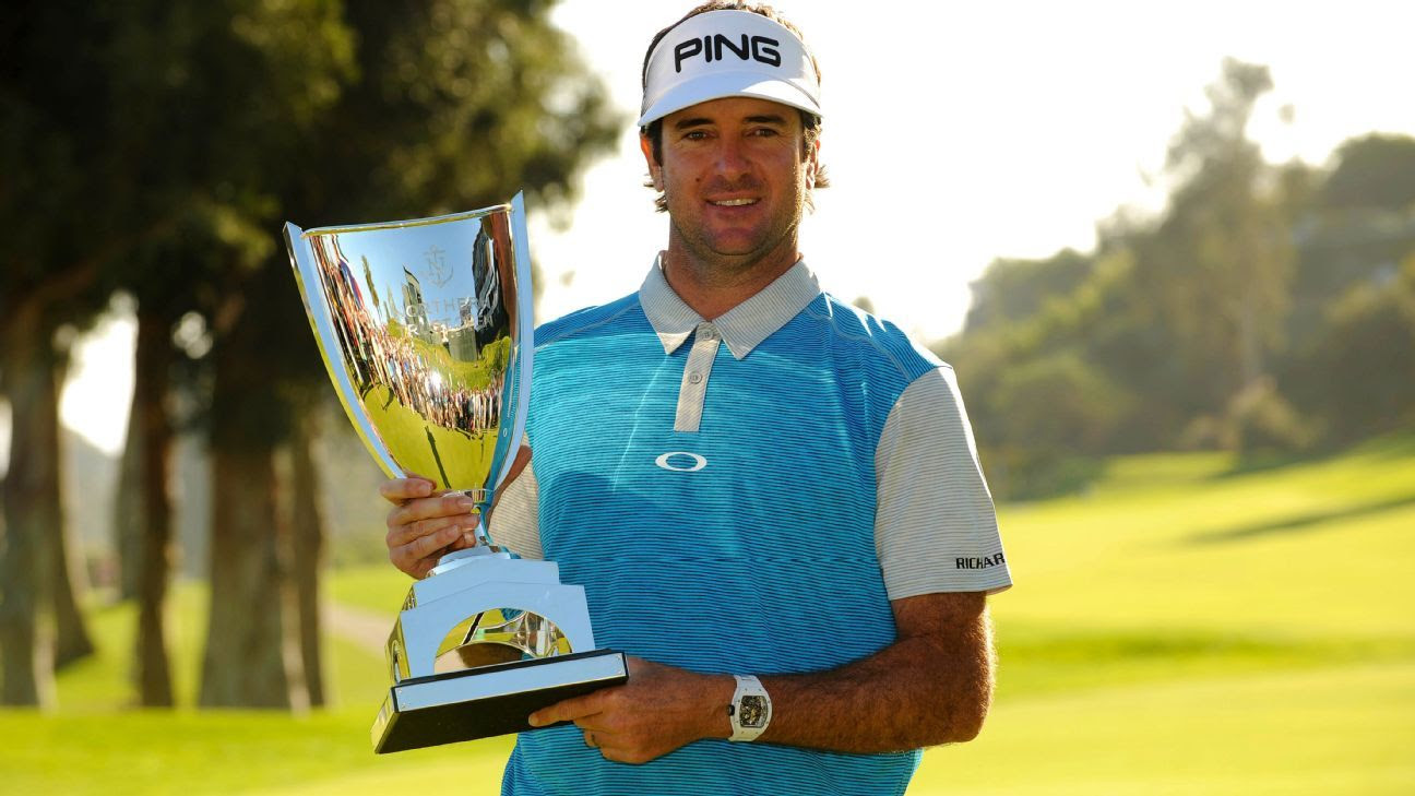 Bubba Watson with Northern Trust Open trophy