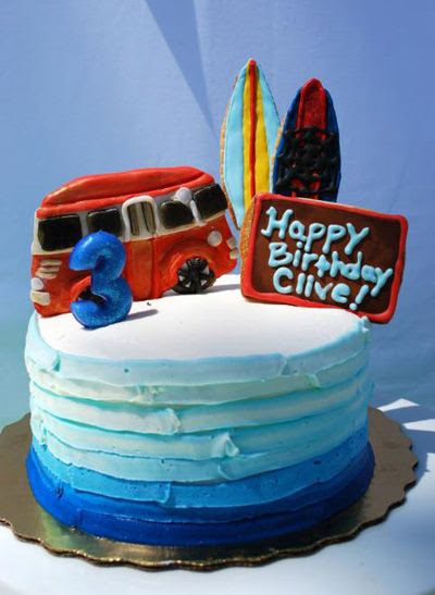 Surf Party Cake with Cookie Toppers, surf, ombre, water, ocean Inspiring Giggles The Pear
