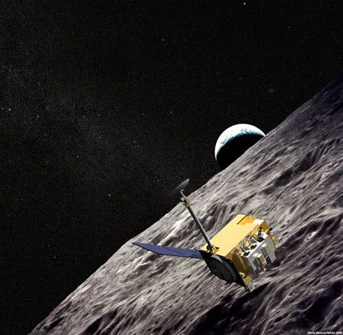 An artist's concept showing the Lunar Reconnaissance Orbiter above the Moon.