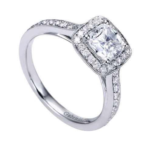 Gabriel & Co. Engagement Rings Square Victorian Halo .43ctw