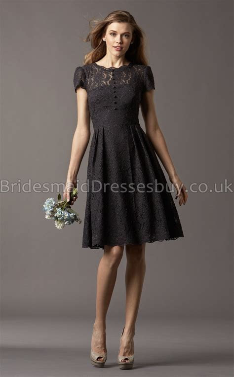 A line Short Sleeve Scalloped Black Lace Knee length
