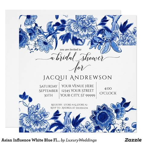 Asian Influence White Blue Floral  Bridal Shower