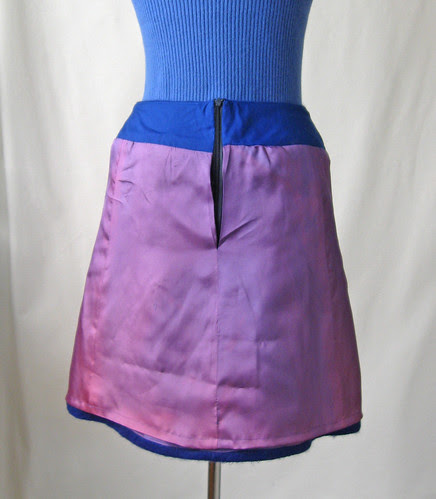 Skirt inside with reused coat lining