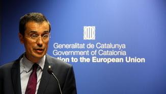 El representant permanent davant de la UE, Amadeu Altafaj, durant el discurs de l'acte de la Diada a Brussel·les, el 12 de setembre del 2016 (horitzontal)