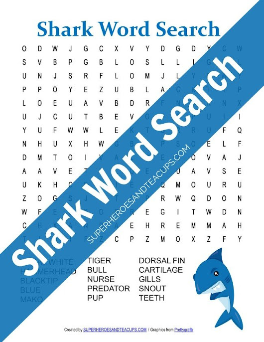 Shark Word Search Free Printable for Kids
