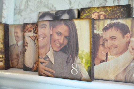 Wood Wedding Table Number Photo Custom Blocks Set Of 24