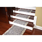 "Dean Non-Slip Tape Free Pet Friendly Stair Gripper Bullnose Carpet Stair Treads - Silver Scrollwork 27""W (15) Plus A Matching 5' Runner"