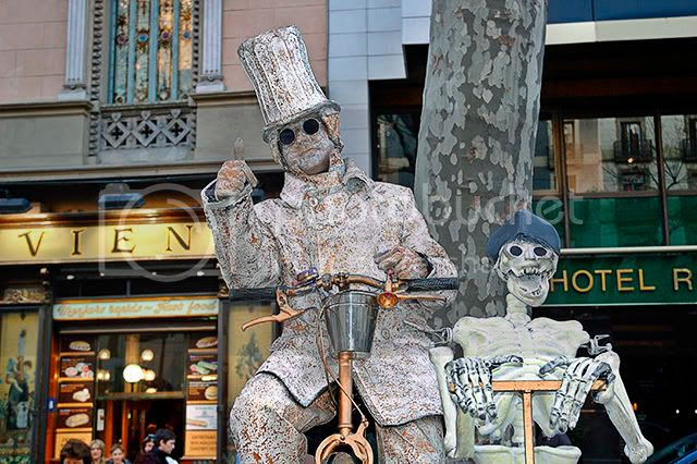 Biker and Skeleton in Las Ramblas, Barcelona, Spain [enlarge]
