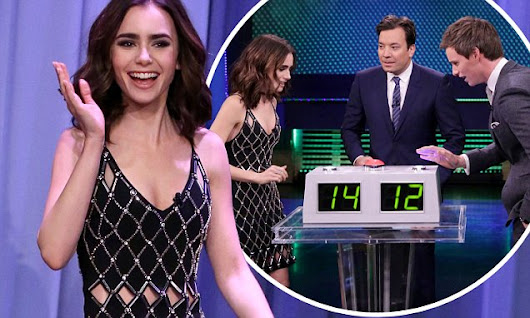 Lily Collins dazzles in cut-out black silver dress for Tonight Show