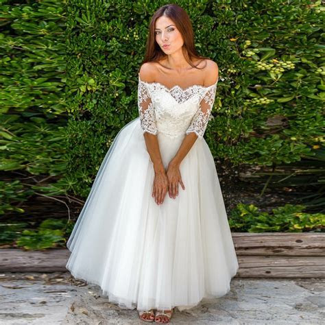 A Line Off the Shoulder Half Sleeves Tulle Wedding Dress