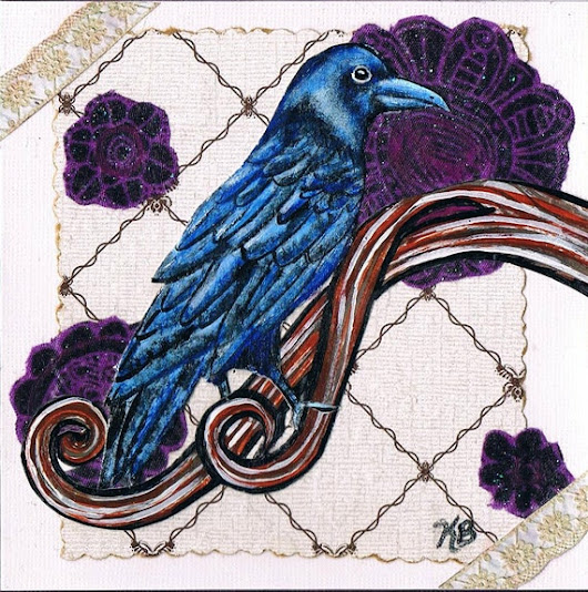 Handmade Raven Greeting Card Acrylic Painting by KimbasCritters