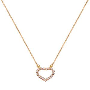 Colier placat cu aur cu pandantiv inima cu pietre zirconiu