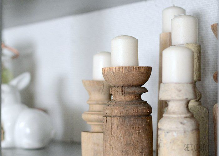 vintage spindle candlesticks
