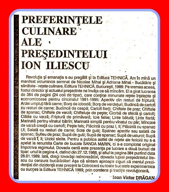 Preferintele Culinare ale Uninominalului Ion Ilici Iliescu