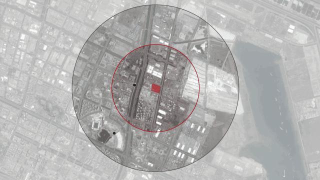 Image satellite du Tianjin avec superposition de rayon de l'explosion.