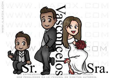 caricatura fofinha, caricatura divertida, caricatura sr e sra smith, Vasconcelos, caricatura família, by ila fox