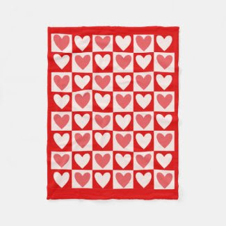 Heart Design on Fleece Blanket