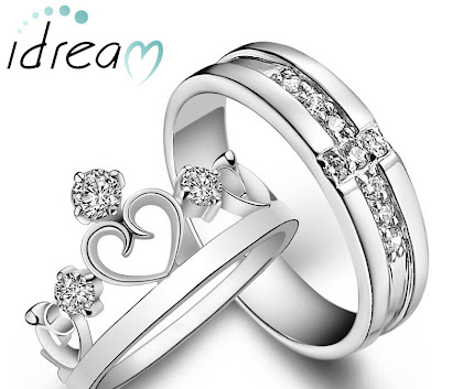 Heart Crown Ring and Cubic Zirconia Cross Wedding Band Set in 925 Silver Plated Copper