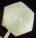 Charles Keller white gold engine-turned cufflinks. (J9342)