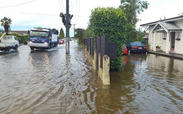 Flooding in High Street in Motueka