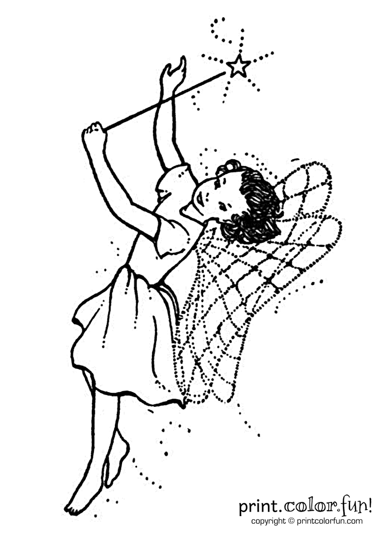 Fairy with a wand coloring page - Print. Color. Fun!