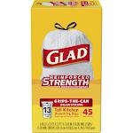 Glad Tall Kitchen 13 gal Trash Bags, Drawstring, White - 45 count