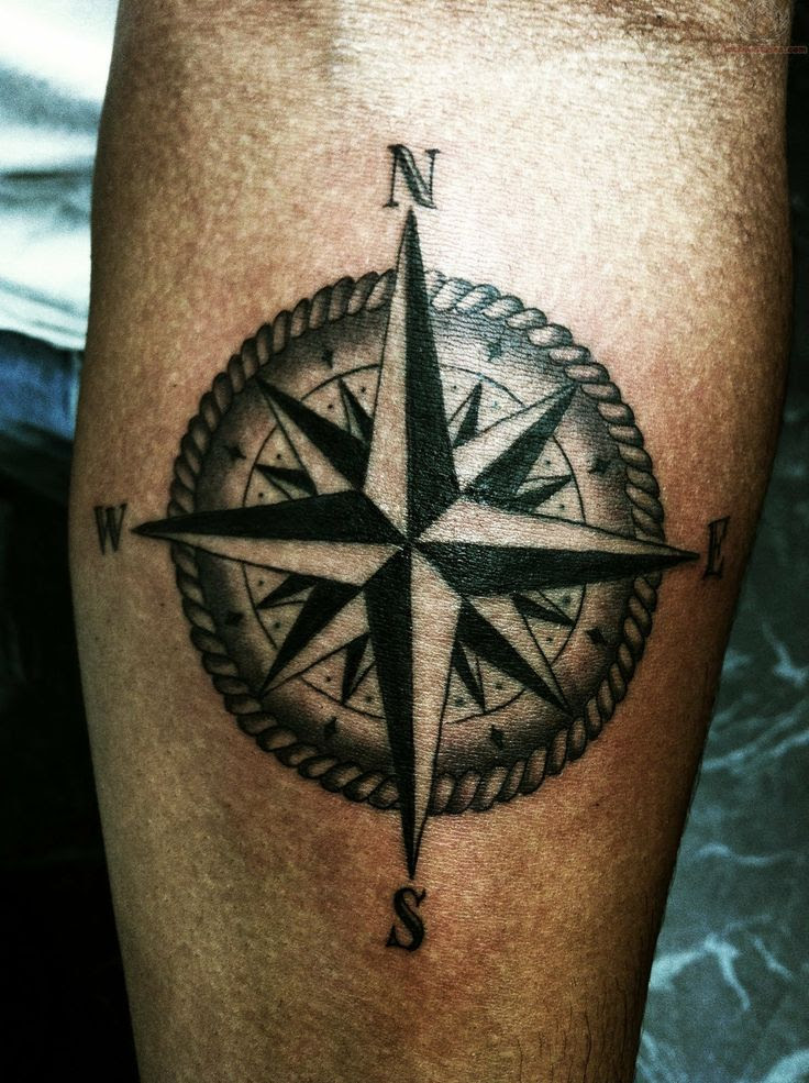 Awesome Looking Black Compass Tattoo On Arm Tattoomagz