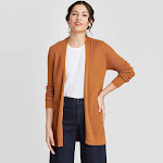 Women's Long Sleeve Open Layer Cardigan - A New Day Rust
