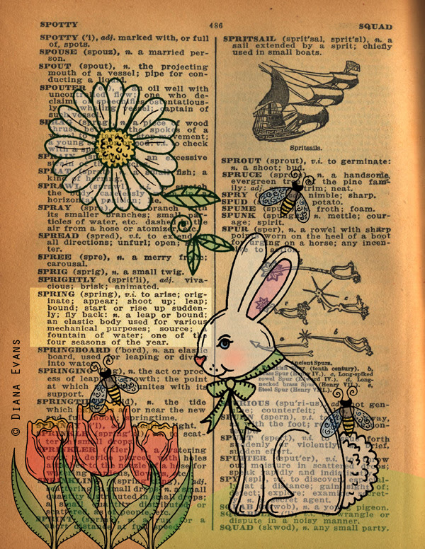 1940s Dictionary Page Spring