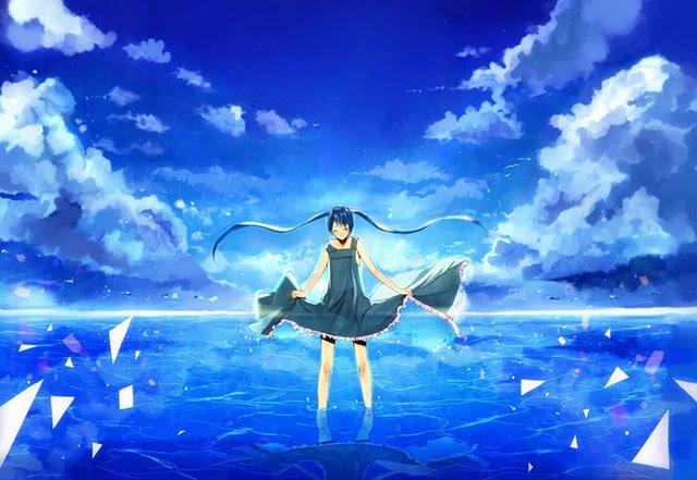 初音ミク綺麗な青空の可愛いイラスト壁紙ボカロ画像