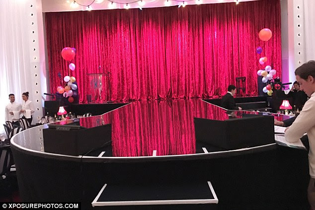 Setting the stage: Madonna performed against a pink velvet curtain for her set