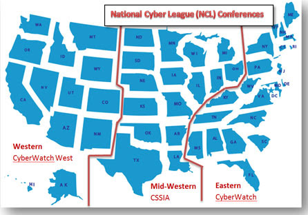 National Cyber League Conferences: Western, Mid-Western, and Eastern.