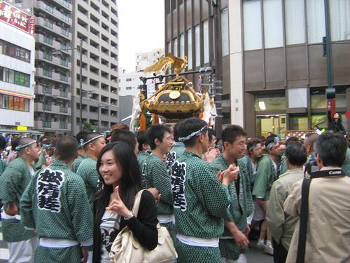 Young woman posing for camera at Sanja Matsuri