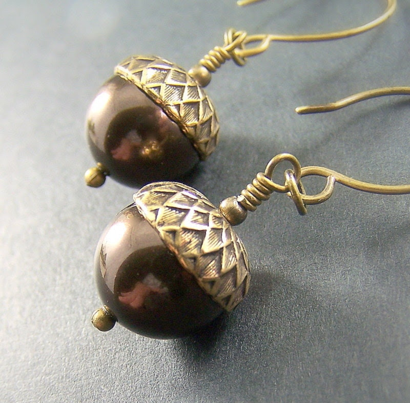 Autumn Earrings Swarovski Pearls Antique Brass - Petite Acorn