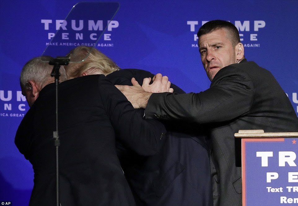 Members of the Secret Service acted quickly to remove Trump from the Reno-Sparks Convention Center without incident