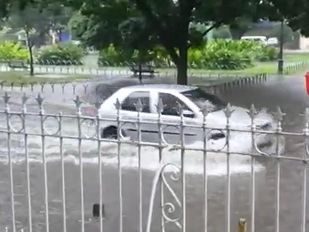 Segundo telespectadora, Praça de Casa Forte está alagada desde cedo (Foto: Reprodução/WhatsApp)