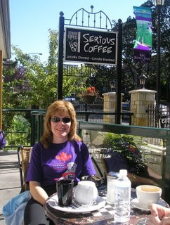 Ginger enjoying a cup of coffee at the Serious Cafe