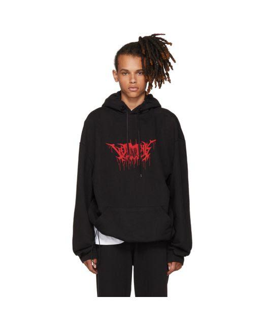 мужское чёрный Oversized Metal Logo Hoodie Vetements 12686865670