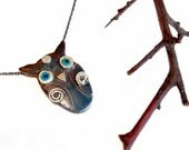 Owl Necklace - Pendant  - Sterling Silver - serpilguneysudesigns